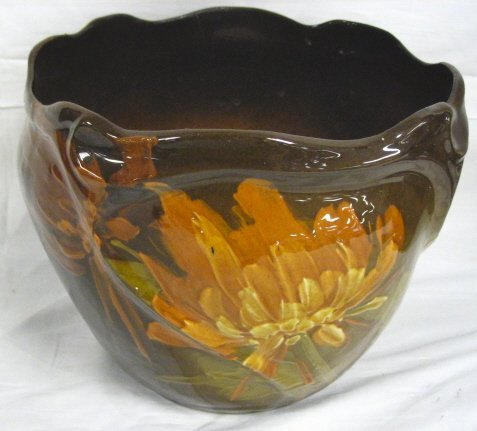 ART POTTERY JARDENIERE W/HAND PAINTED FLOWERS