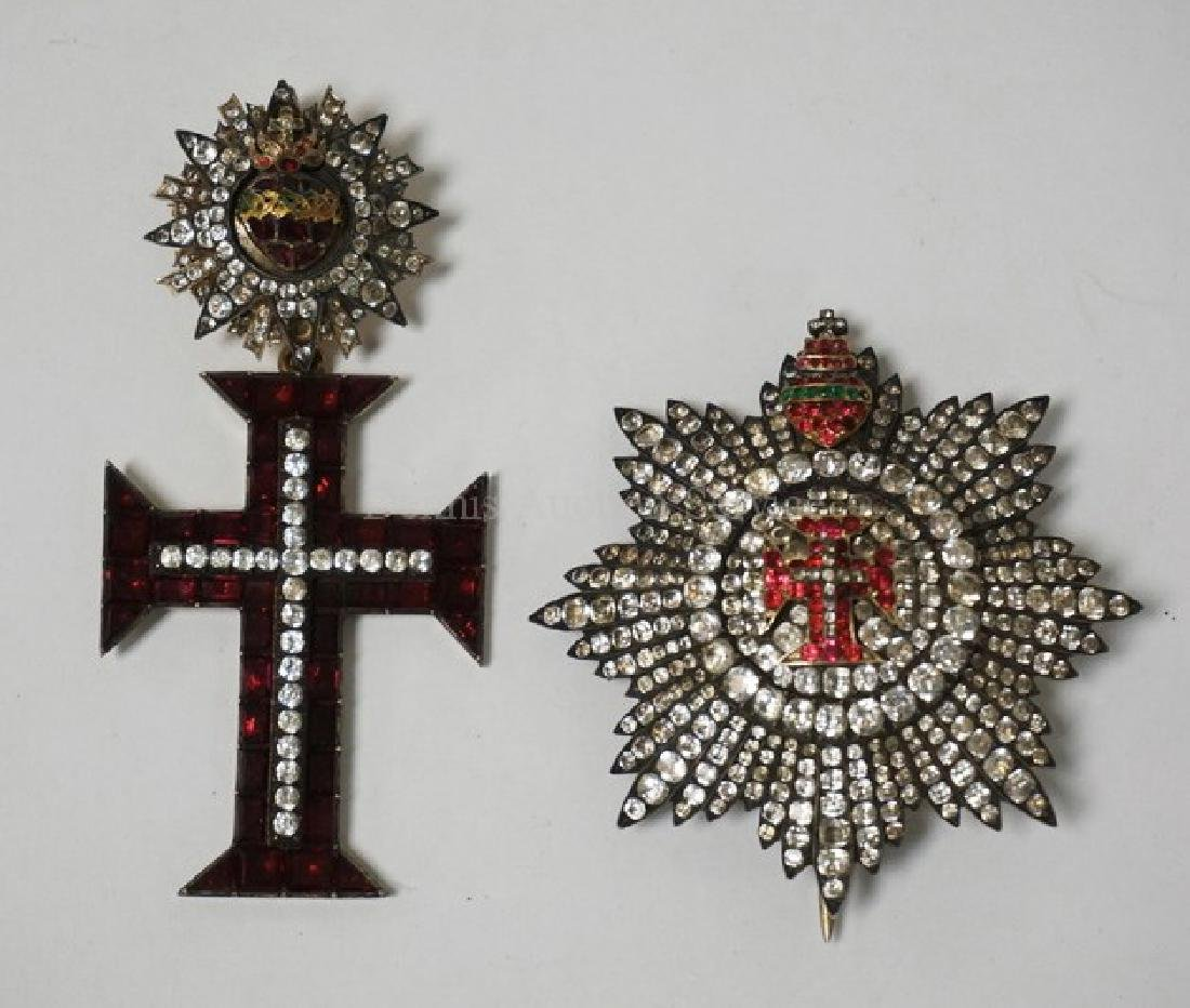 PORTUGUESE ORDER OF CHRIST RHINESTONE BREAST STAR AND