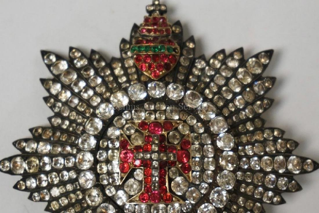 PORTUGUESE ORDER OF CHRIST RHINESTONE BREAST STAR AND - 3