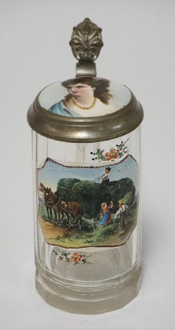 ANTIQUE HAND PAINTED GERMAN STEIN WITH PANEL CUT SIDES