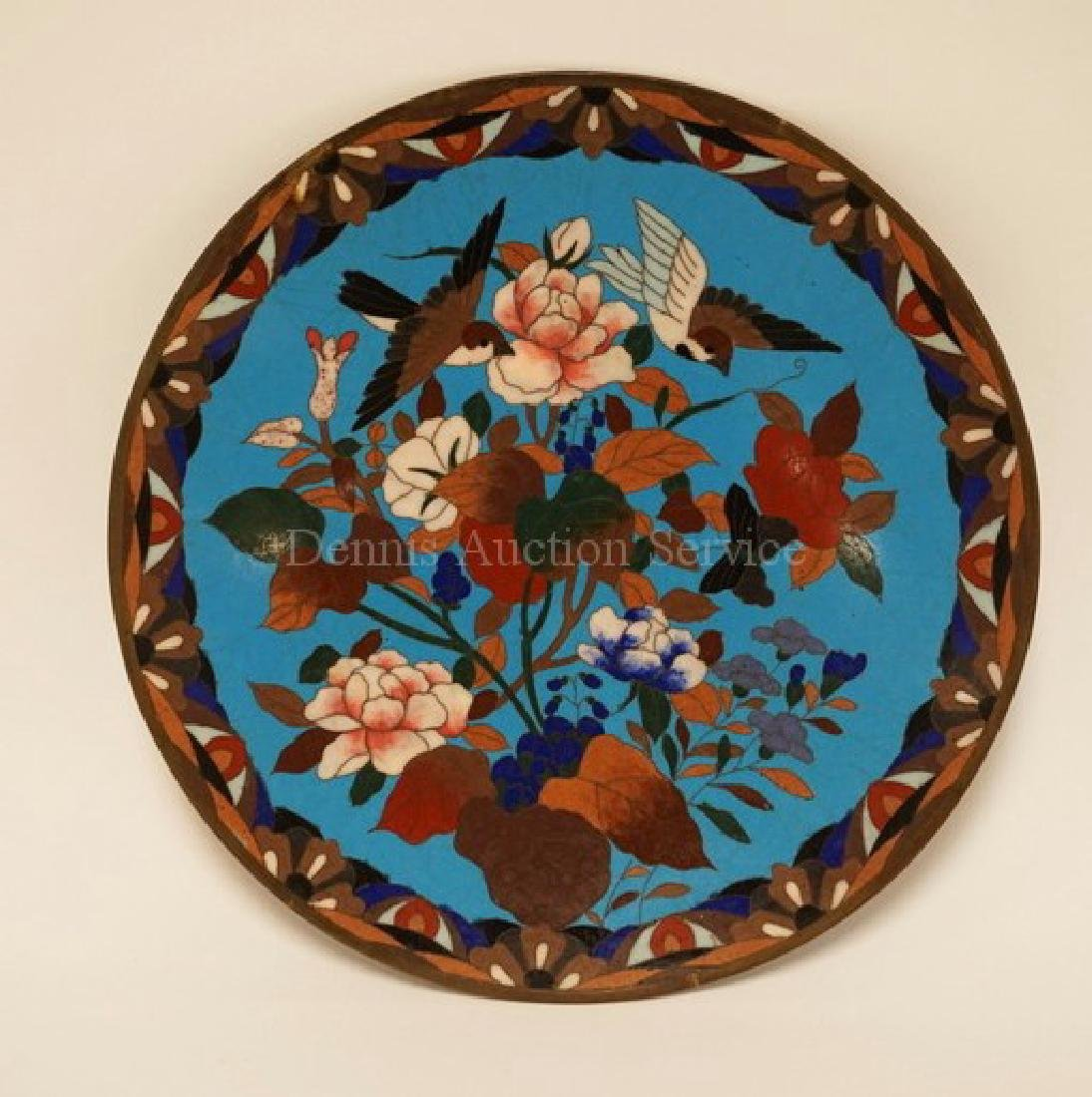 CLOISONNE PLATE WITH BIRDS HOVERING OVER A FLOWERING