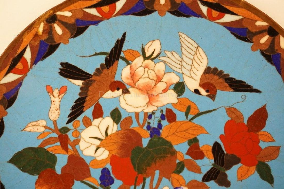 CLOISONNE PLATE WITH BIRDS HOVERING OVER A FLOWERING - 2