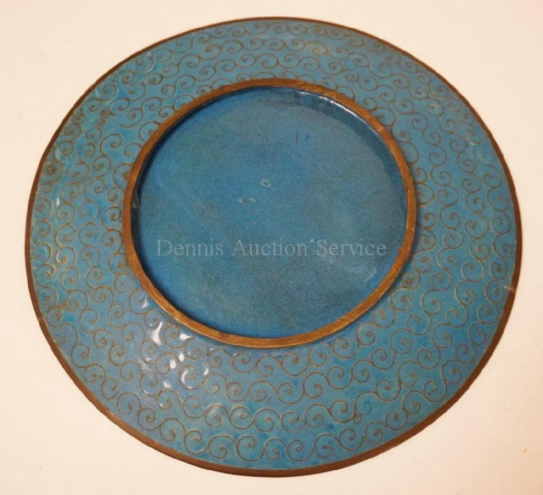 CLOISONNE PLATE WITH BIRDS HOVERING OVER A FLOWERING - 3