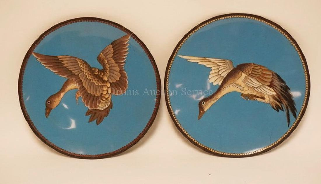 PAIR OF CLOISONNE PLATES WITH DUCKS IN FLIGHT. 11 5/8