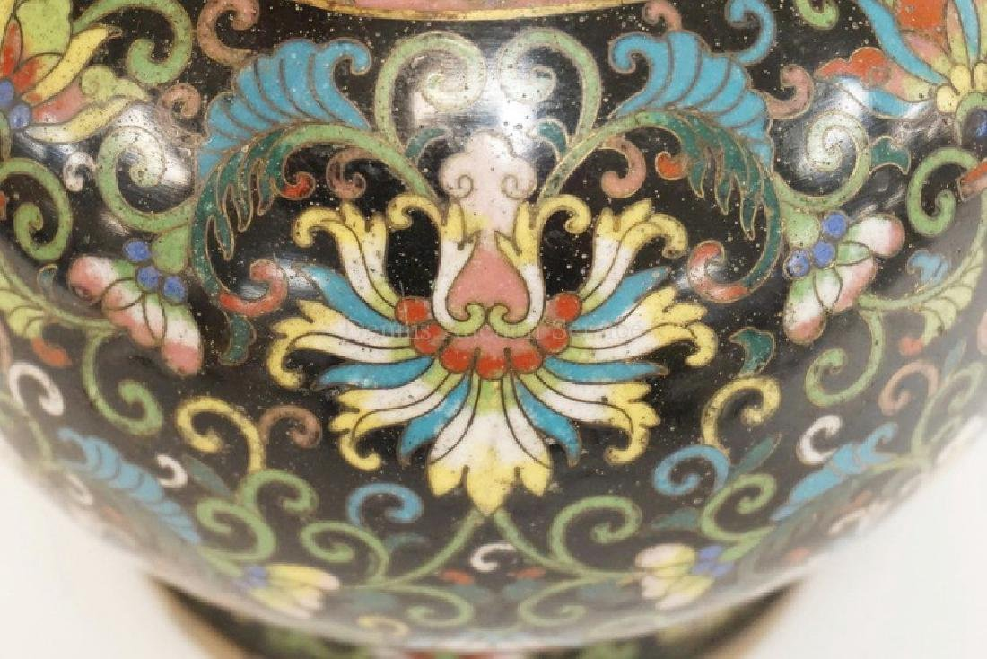 CLOISONNE VASE WITH AN ELABORATE STYLIZED FLOWER DESIGN - 2