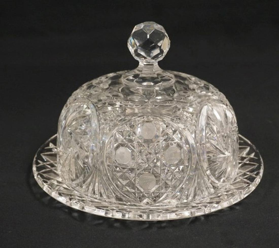 LARGE PRESSED AND CUT CRYSTAL COVERED CHEESE DOME. 7