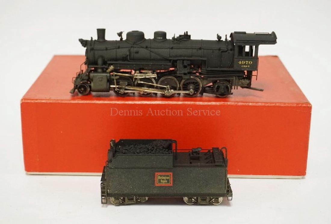 VINTAGE LMB BRASS HO SCALE LOCOMOTIVE & TENDER. CB&Q