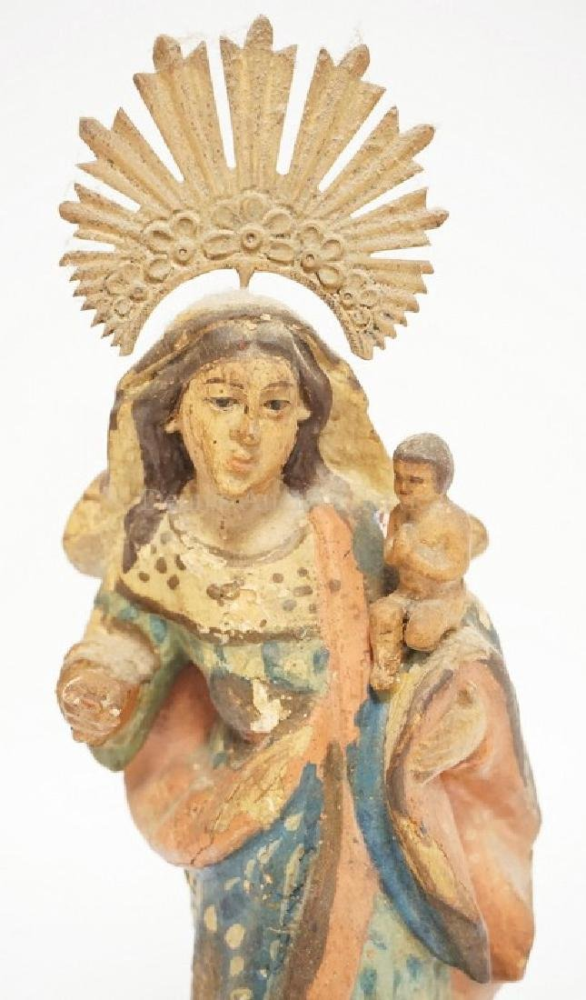 EARLY HAND CARVED AND PAINTED WOODEN SANTOS - MOTHER - 2