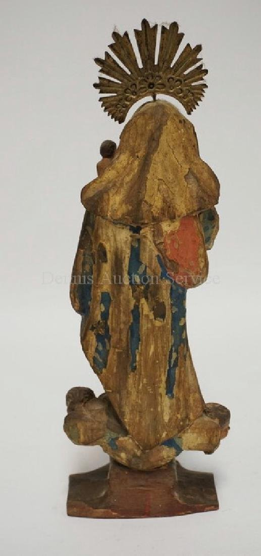 EARLY HAND CARVED AND PAINTED WOODEN SANTOS - MOTHER - 5