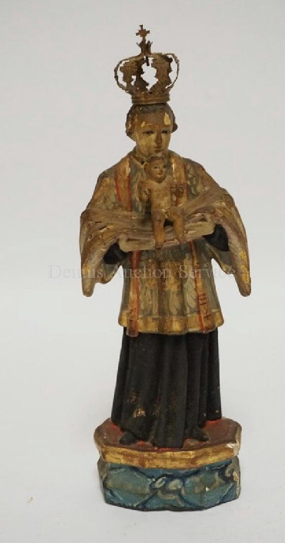 EARLY CARVED AND PAINTED WOODEN SANTOS MEASURING 10 3/4