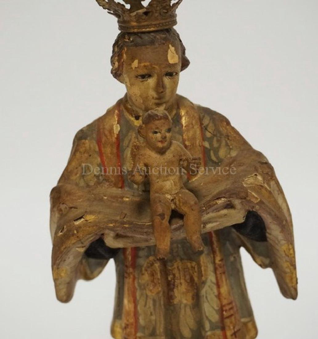 EARLY CARVED AND PAINTED WOODEN SANTOS MEASURING 10 3/4 - 2