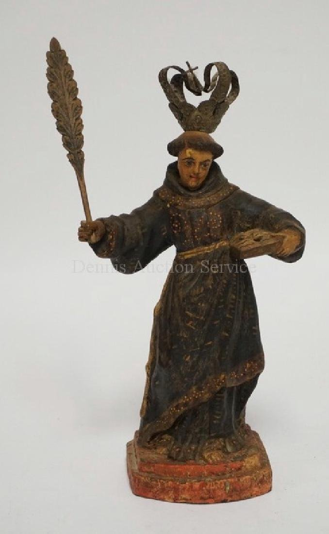 ANTIQUE CARVED AND PALYCHROME PAINTED WOODEN SANTOS