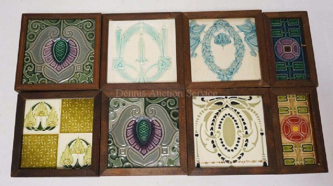 LOT OF 8 ANTIQUE TILES. EACH IS FRAMED. MOST APPEAR TO