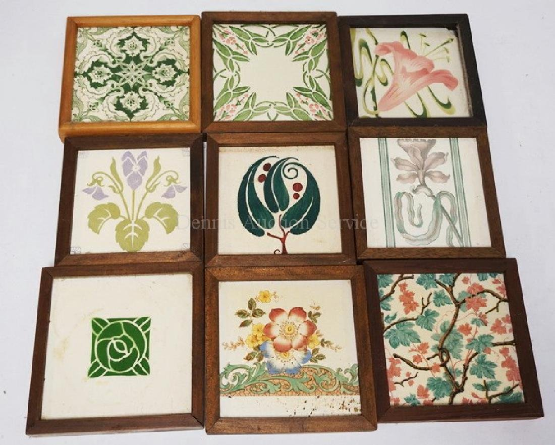 LOT OF 9 ANTIQUE TILES. MOSTLY FLORAL DECORATED. ONE