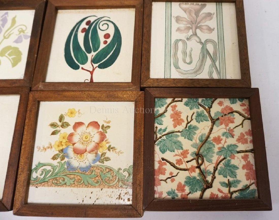 LOT OF 9 ANTIQUE TILES. MOSTLY FLORAL DECORATED. ONE - 2
