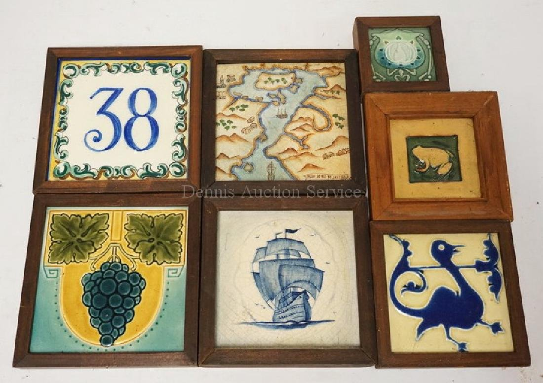 LOT OF 7 ANTIQUE TILES WITH DECORATIONS INCLUDING A