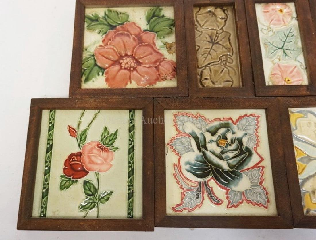 LOT OF 9 ANTIQUE TILES DECORATED WITH FLOWERS. TWO - 2