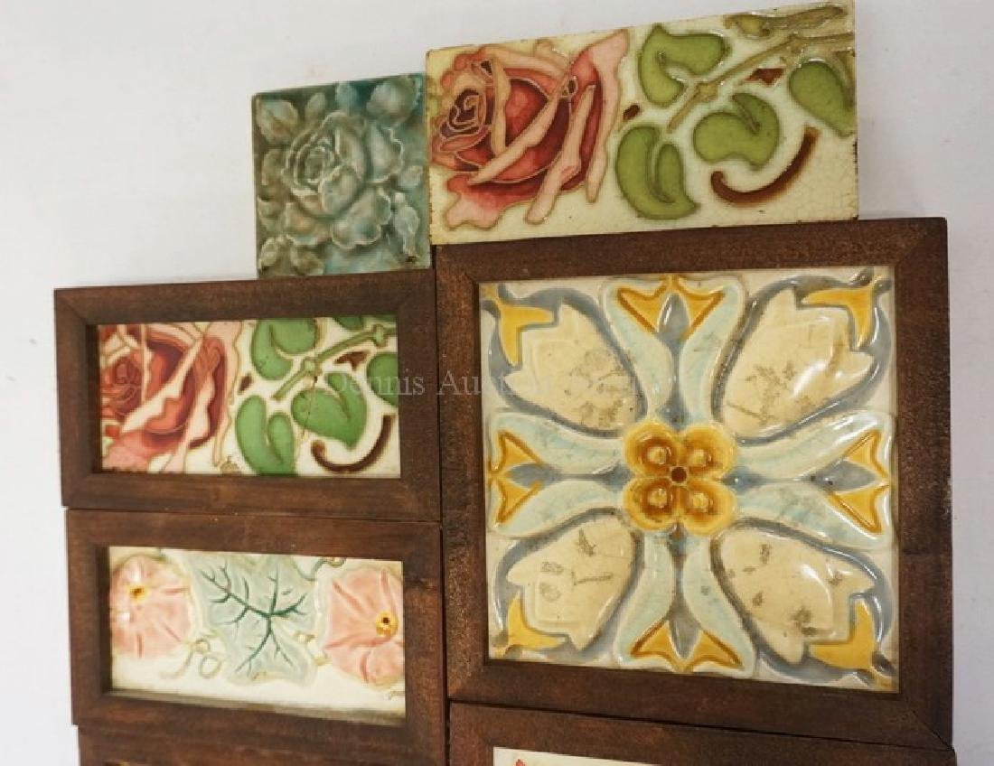 LOT OF 9 ANTIQUE TILES DECORATED WITH FLOWERS. TWO - 3