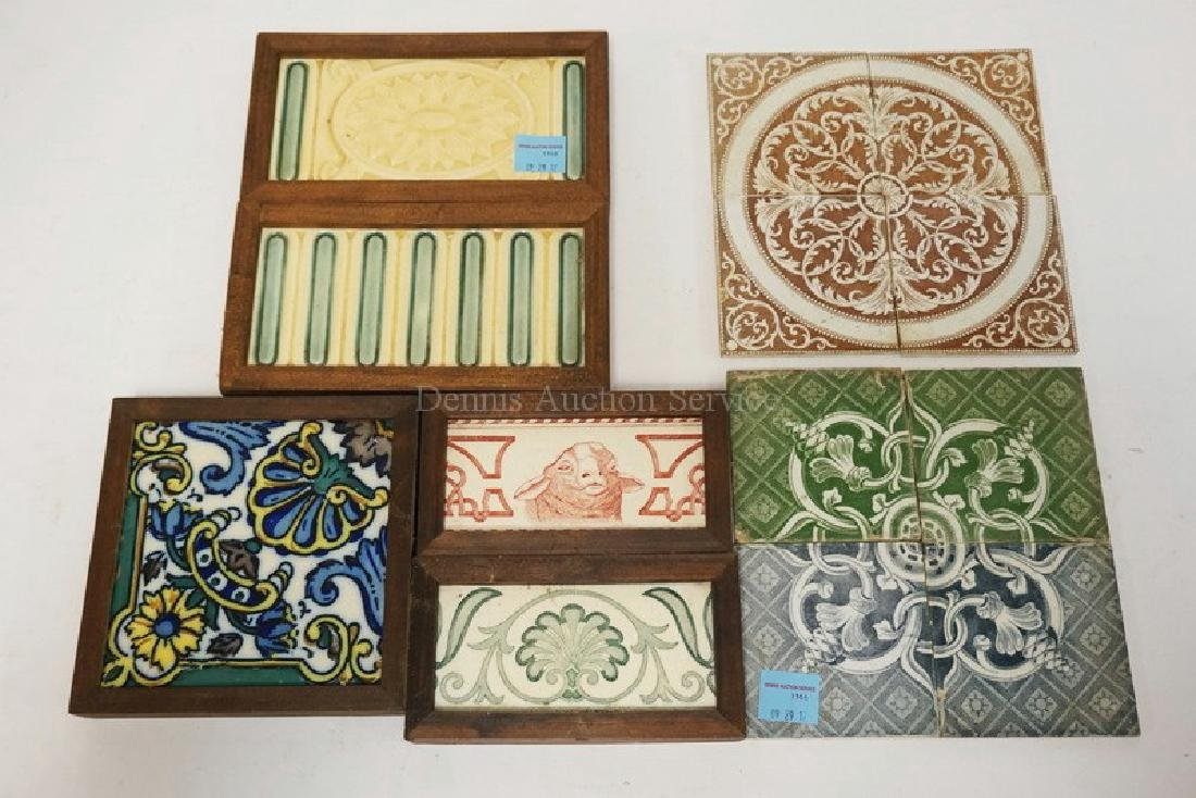 LOT OF 13 ANTIQUE TILES. INCLUDES MATCHING SETS, ONE