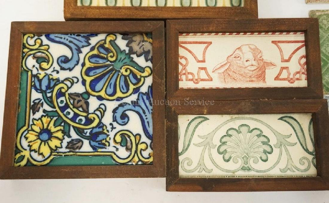 LOT OF 13 ANTIQUE TILES. INCLUDES MATCHING SETS, ONE - 2