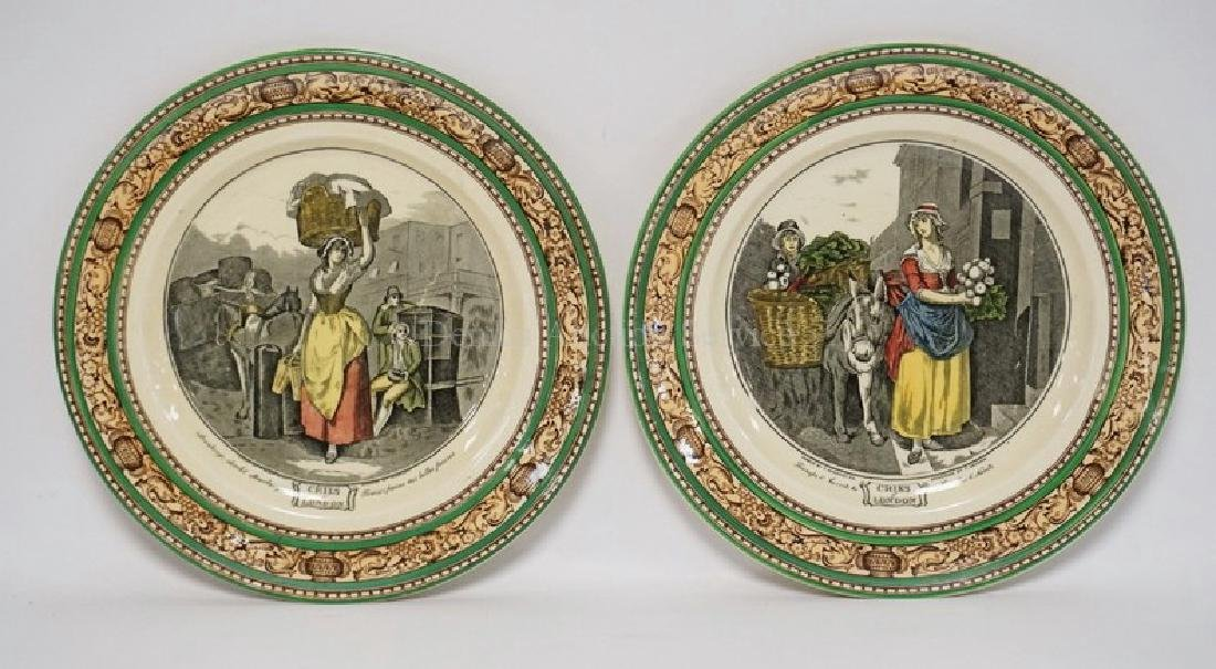 2 ADAMS POLYCHROME DECORATED *CRIES OF LONDON* PLATES