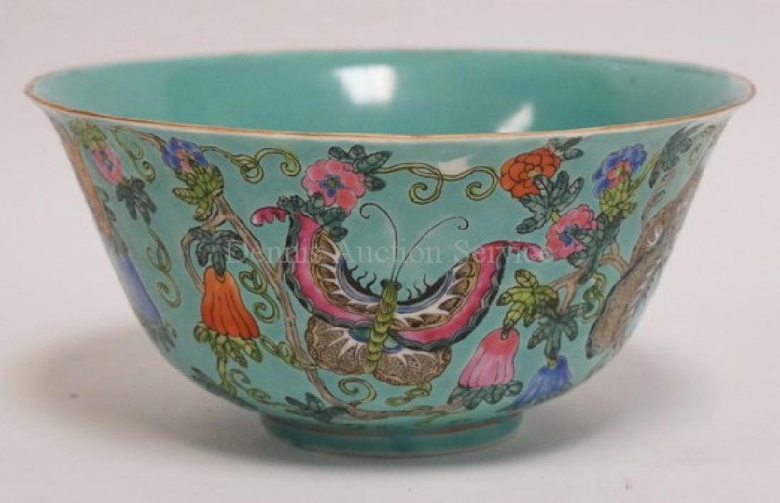 CHINESE FAMILLE ROSE DECORATED PORCELAIN BOWL MEASURING