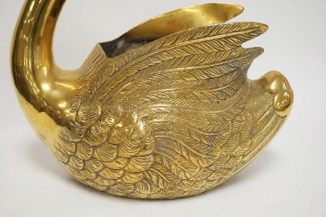 VERY LARGE BRASS SWAN PLANTER MEASURING 19 3/4 INCHES - 2
