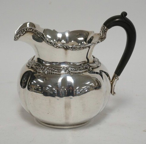 ANTIQUE GORHAM STERLING SILVER PITCHER WITH A WOODEN