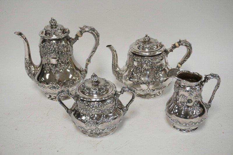 ANTIQUE GORHAM 4 PIECE TEA SET. RETAILED AT SPAULDING &