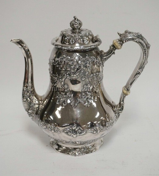 ANTIQUE GORHAM 4 PIECE TEA SET. RETAILED AT SPAULDING & - 2