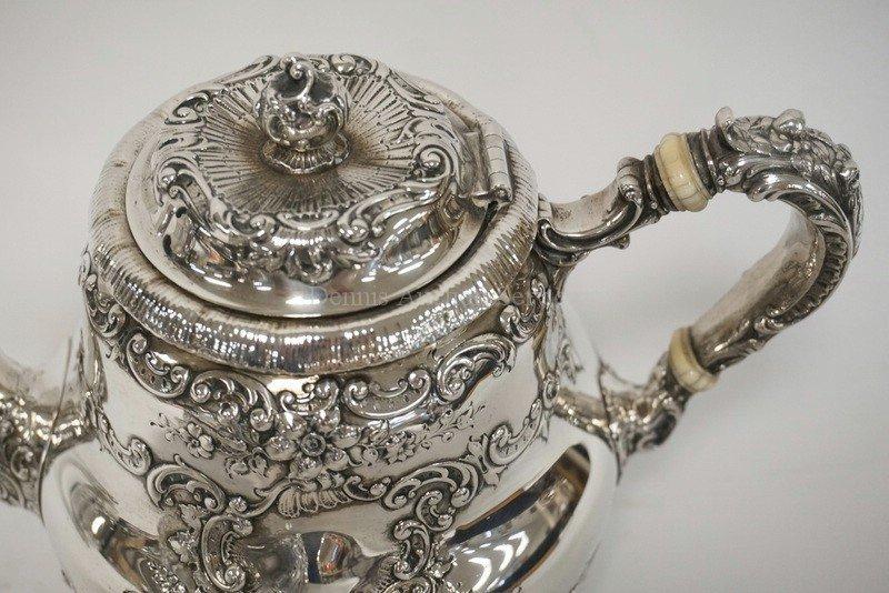 ANTIQUE GORHAM 4 PIECE TEA SET. RETAILED AT SPAULDING & - 3