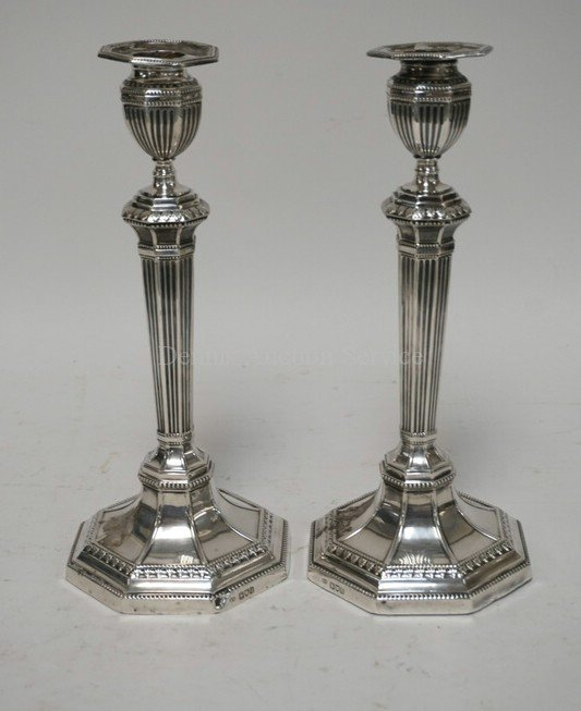 ANTIQUE LONDON STERLING SILVER CANDLESTICKS. WEIGHTED.