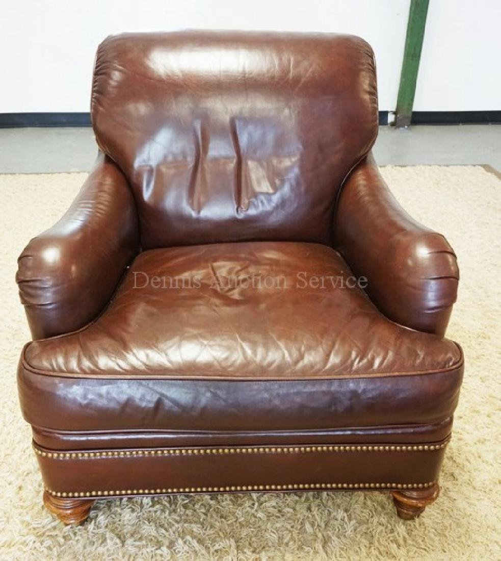LEATHER LOUNGE CHAIR BY GREENBAUM.