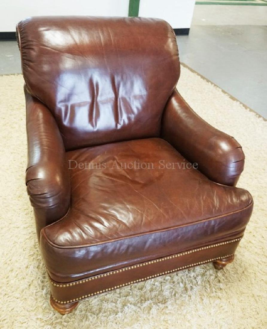 LEATHER LOUNGE CHAIR BY GREENBAUM. - 2