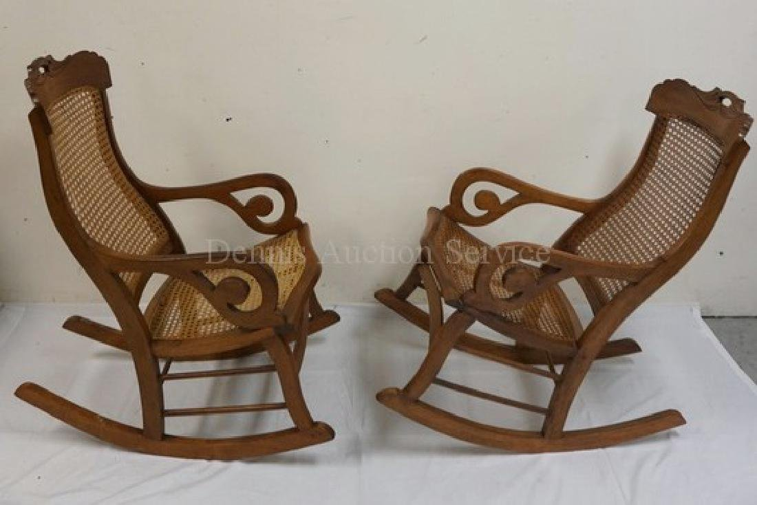PAIR OF WALNUT ROCKING CHAIRS WITH CANED SEATS AND - 2