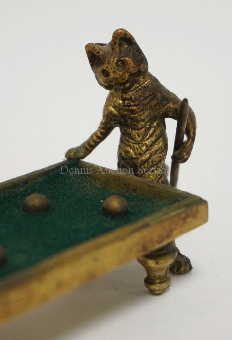 BRASS FIGURE OF CATS PLAYING POOL. 6 1/4 INCHES LONG. 3 - 2