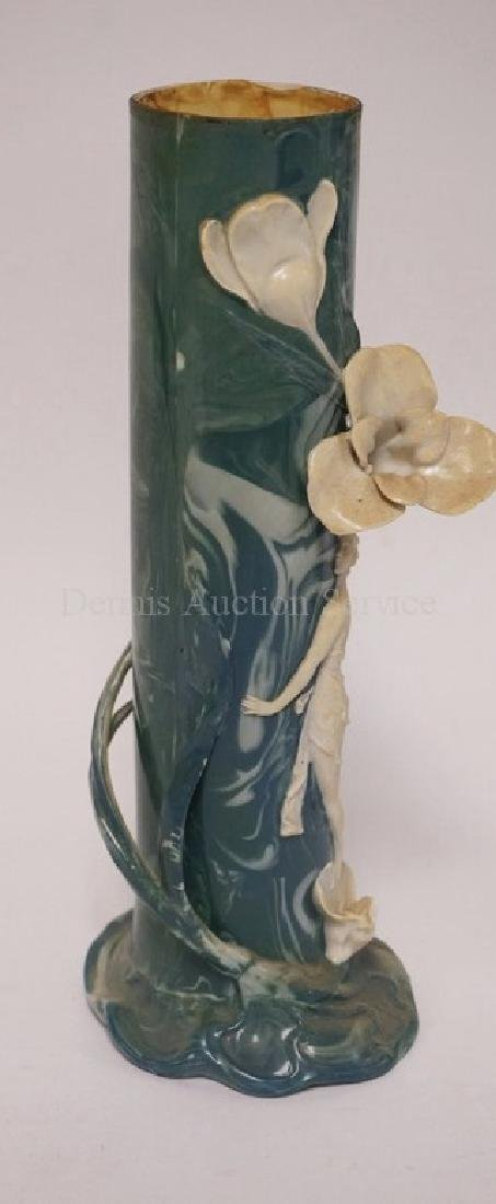 PAIR OF ENS PORCELAIN VASES WITH RELIEF DECORATIONS OF - 3