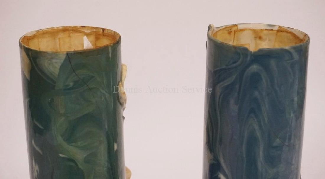 PAIR OF ENS PORCELAIN VASES WITH RELIEF DECORATIONS OF - 4