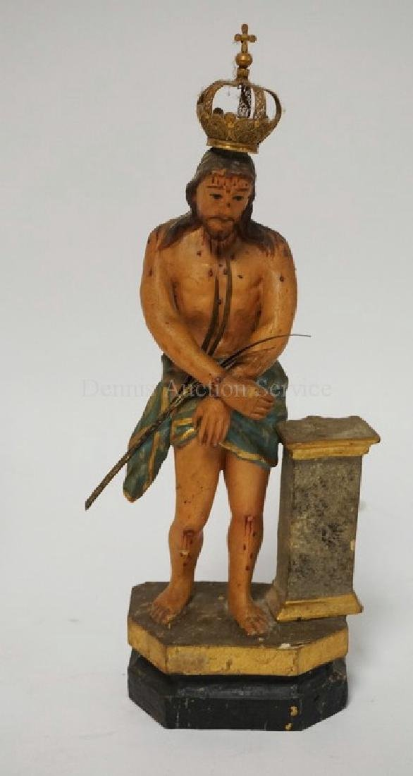 HAND CARVED AND POLYCHROME PAINTED WOODEN FIGURE OF