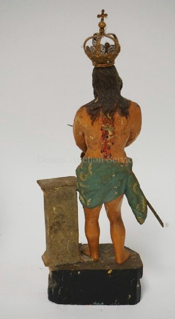 HAND CARVED AND POLYCHROME PAINTED WOODEN FIGURE OF - 3