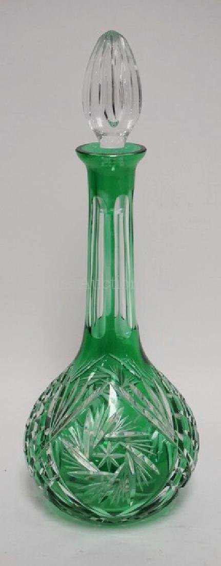 GREEN CUT TO CLEAR GLASS DECANTER WITH STOPPER. 14 3/4