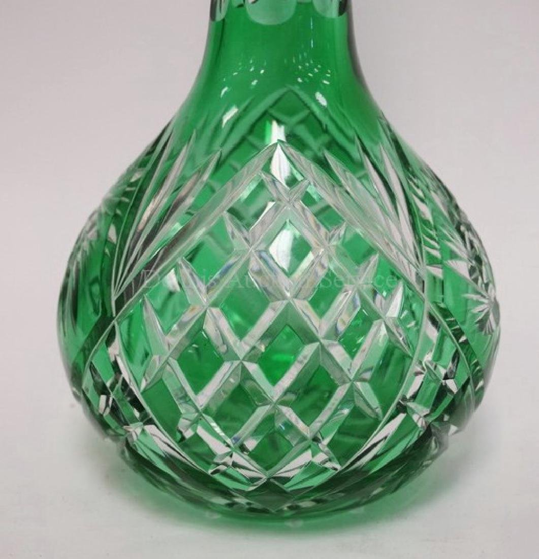 GREEN CUT TO CLEAR GLASS DECANTER WITH STOPPER. 14 3/4 - 2