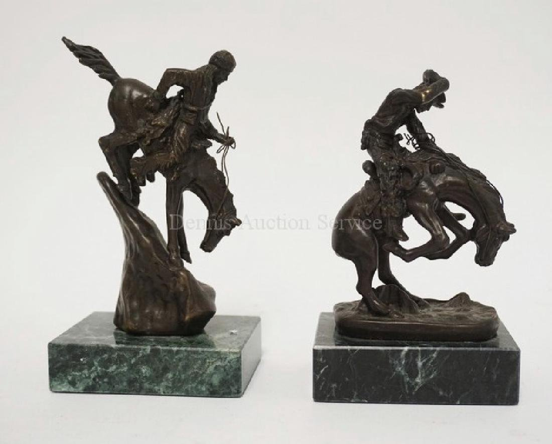 LOT OF 2 SMALL REMINGTON BRONZE FIGURES OF A COYBOY AND