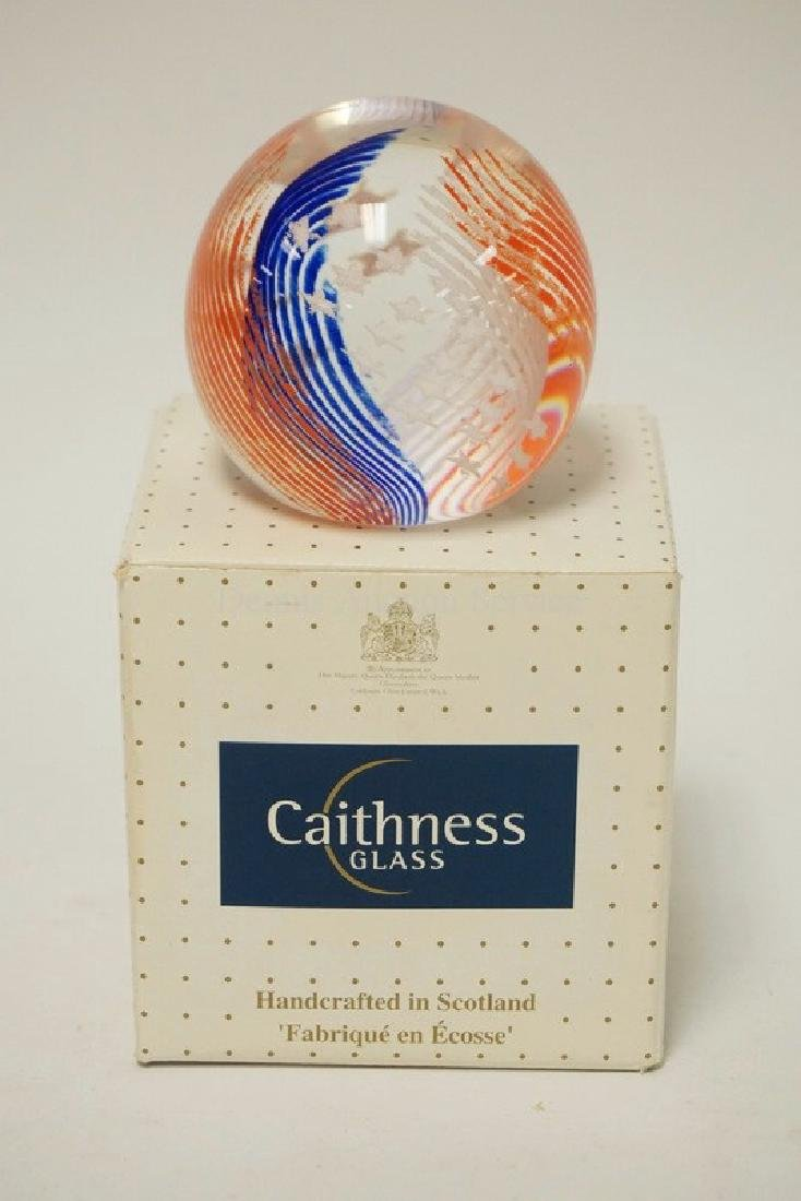 CAITHNESS GLASS *STARS & STRIPES* PAPERWEIGHT WITH BOX.