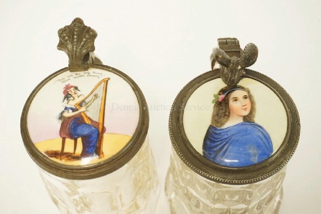 PAIR OF GLASS STEINS WITH PAINTED PORCELAIN LIDS - 2