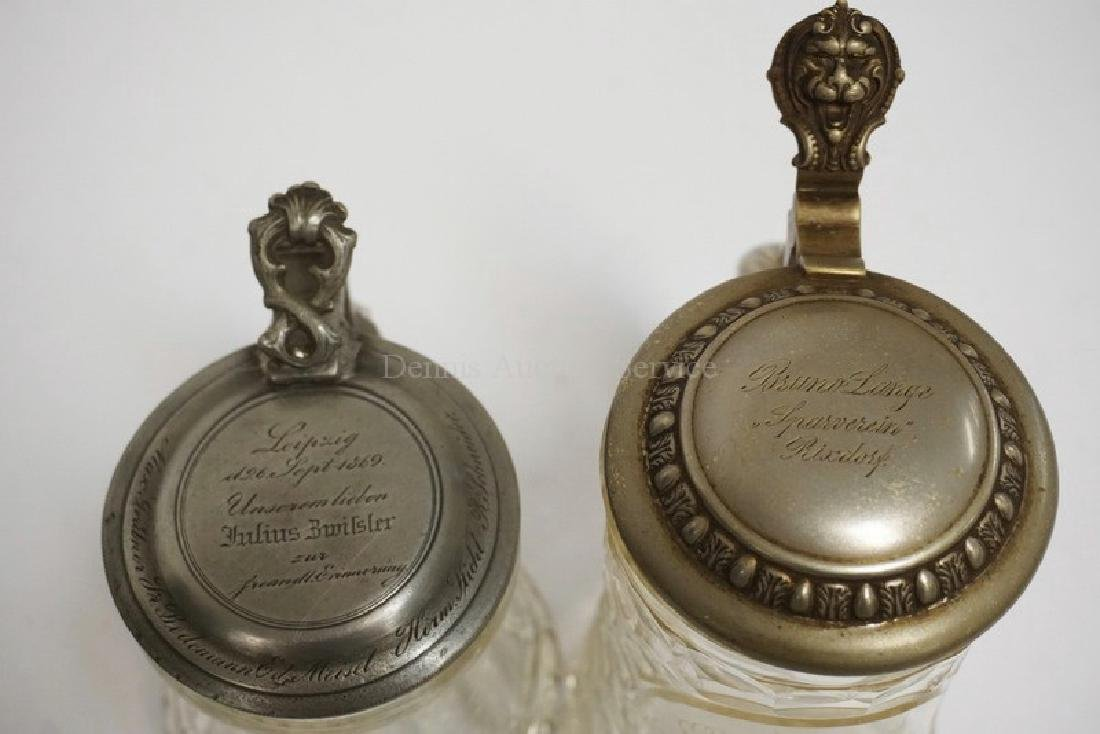 LOT OF 2 GERMAN CUT GLASS STEINS WITH ENGRAVED PEWTER - 2