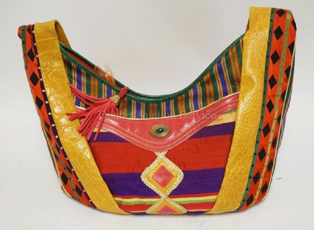 LARGE SHARIF PURSE. LEATHER & FABRIC. 19 1/2 INCHES