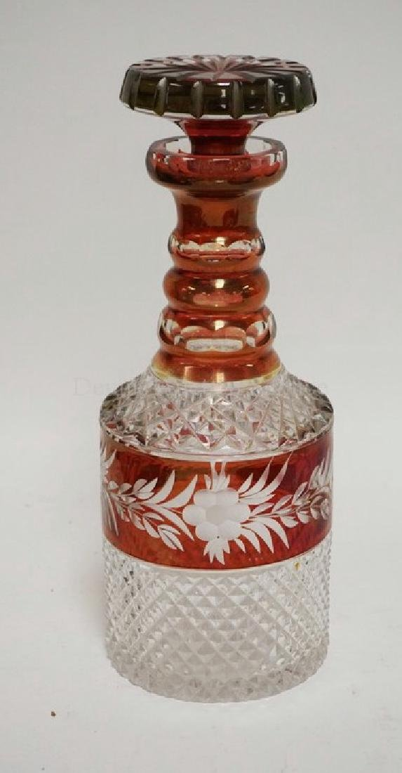 RUBY FLASHED AND CUT CRYSTAL DECANTER WITH STOPPER