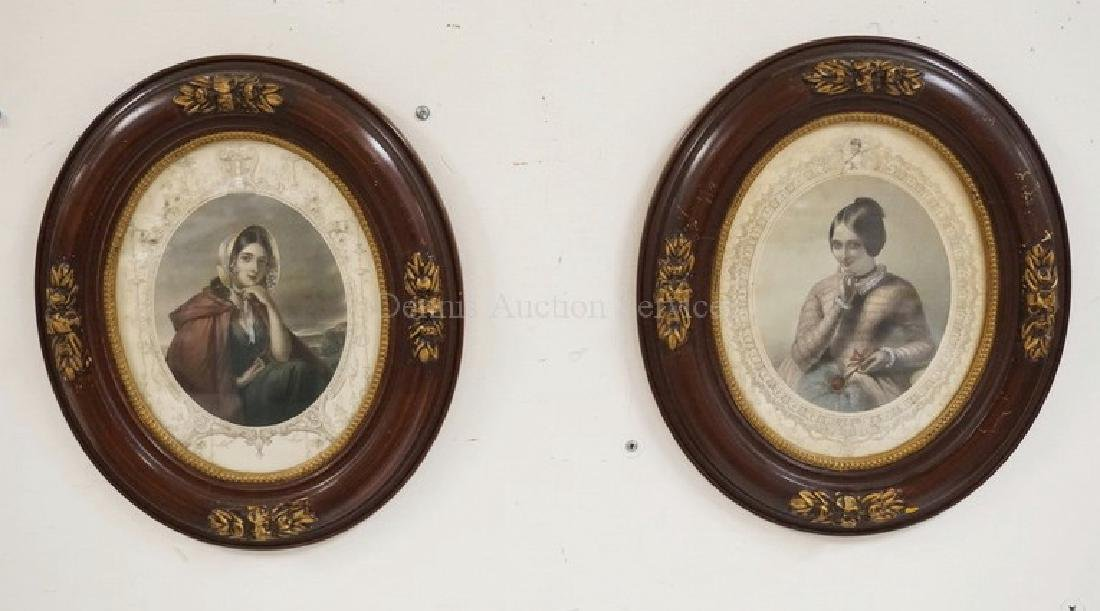 PAIR OF HAND COLORED VICTORIAN PORTRAIT PRINTS OF