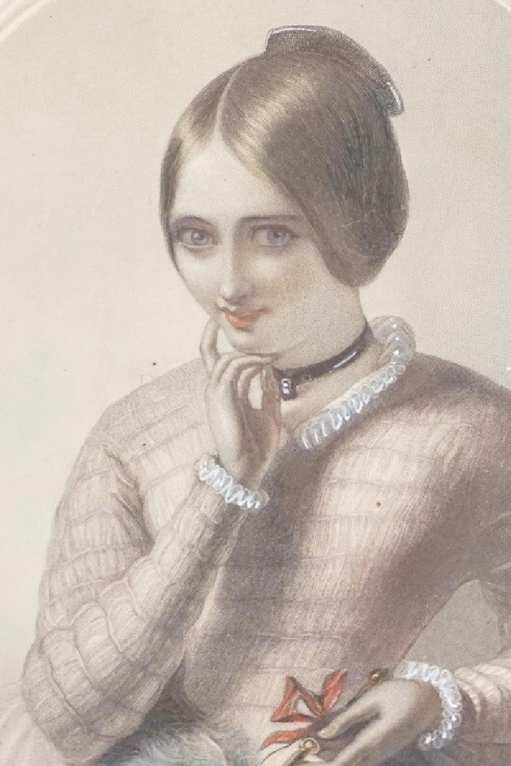 PAIR OF HAND COLORED VICTORIAN PORTRAIT PRINTS OF - 4